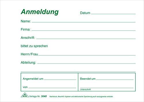RNK 3040 - Anmeldung für Besucher, Block mit 50 Blatt, DIN A6 quer