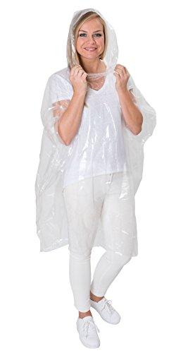 5 x Regenponcho (Einweg) wasserdicht - transparent - Notfall 5 Stück mit Kapuze - für z. B. Konzerte/Vergnügungspark / Besucher/Regenschutz - Einwegponcho - Einwegregenmantel