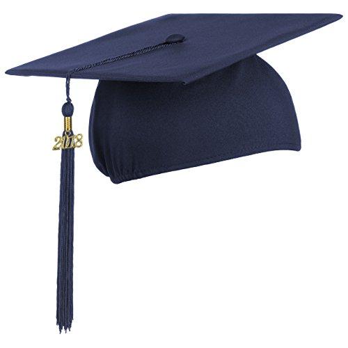 Lierys Doktorhut (Studentenhut) mit 2018 Jahreszahl Anhänger, Hut für Abschlussfeiern vom Studium an Universität, Hochschule oder Abitur, Absolventenhut in der Farbe royal blau, Einheitsgröße