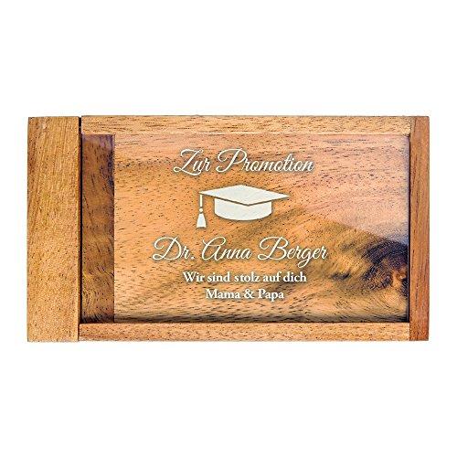Magische Geldgeschenkbox mit Gravur zur Promotion – Personalisiert mit [Wunschnamen] – [Motiv Hut] – Knobelspiel als Verpackung für Geldgeschenke zum Doktortitel - Geschenkidee zum Abschluss