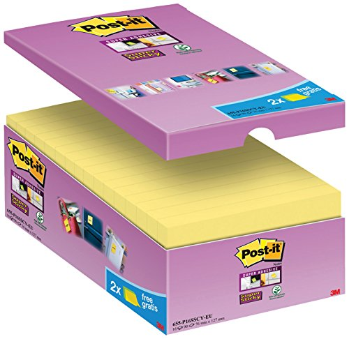Post-it 65516SYP Haftnotiz Super Sticky Notes Promotion (127 x 76 mm) 16 Blöcke à 90 Blatt, gelb