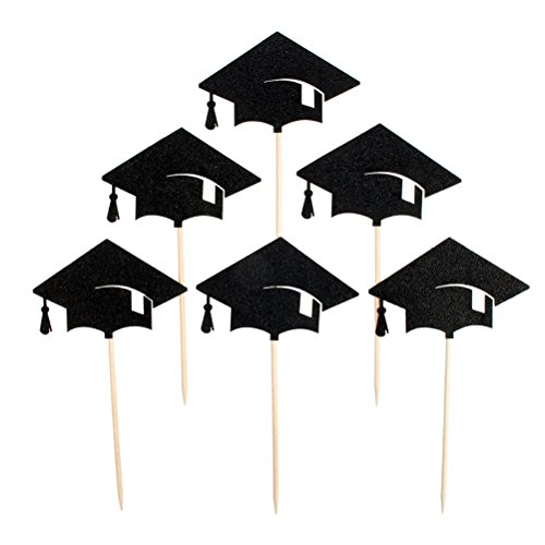Tinksky 6pcs Graduation Cap Cupcake Toppers Kuchendekoration für Graduation Party Favors