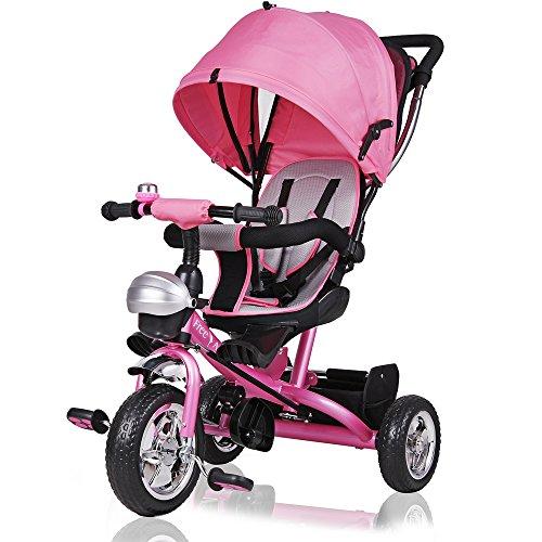 Dreirad Kinderdreirad Kinder Fahrrad Rad Baby Kleinkinder ✔klappbares Sonnendach ✔Elternlenkung ✔viele Vorteile ✔leise PU-Reifen ✔für Jungen und Mädchen ✔mitwachsend ✔pink