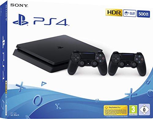 PlayStation 4  - Konsole (500GB, schwarz, slim, F-Chassis) inkl. 2 DualShock 4 Controller