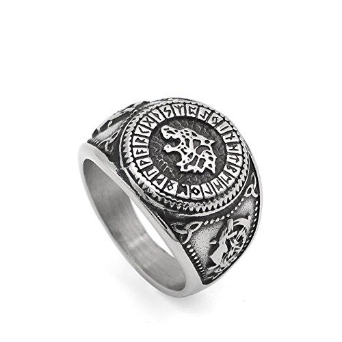 Männer 316L rostfreier Stahl töricht Wikinger Odins wolf Rune Vorteil ring mit Geschenk Tasche