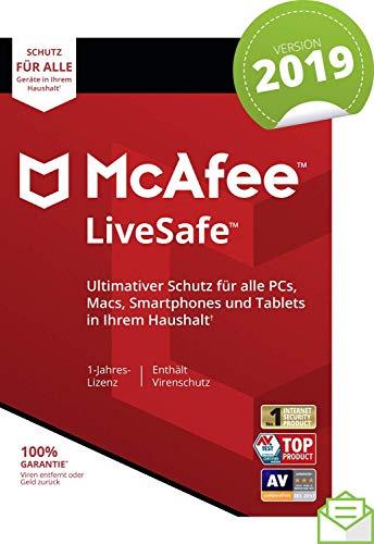 McAfee LiveSafe 2019 | Eine unbegrenzte Anzahl an Geräten | 1 Jahr | PC/Mac/Smartphone/Tablet | Aktivierungscode per Post